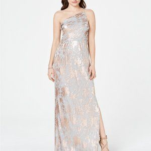 Adrianna Papell Metallic One-Shoulder Gown Silver